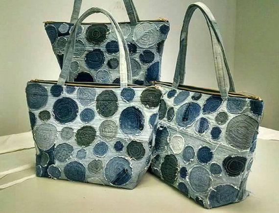 Custom Extra large upcycled denim appliqued bag by DianeSladeInc