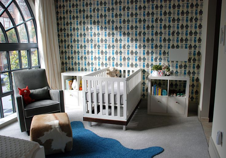 fun robot wall covering by Aimée Wilder | Oeuf Classic Crib and Monte Design Luca Glider