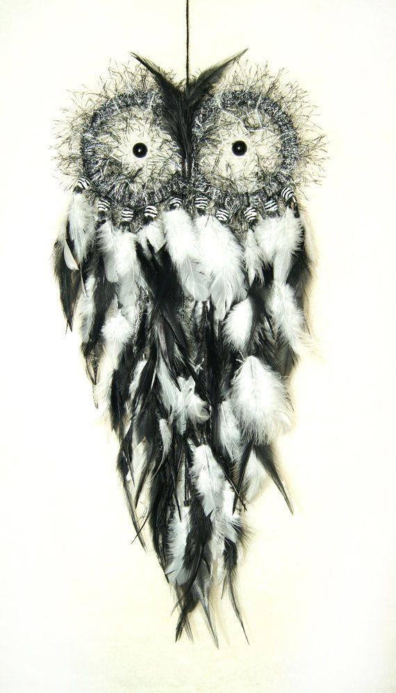 Owl Dream Catcher black and white . Black by PomPomHandicrafts