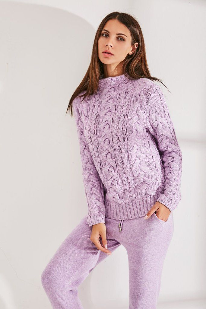 Lilac wool cable knit suit img nr. 5