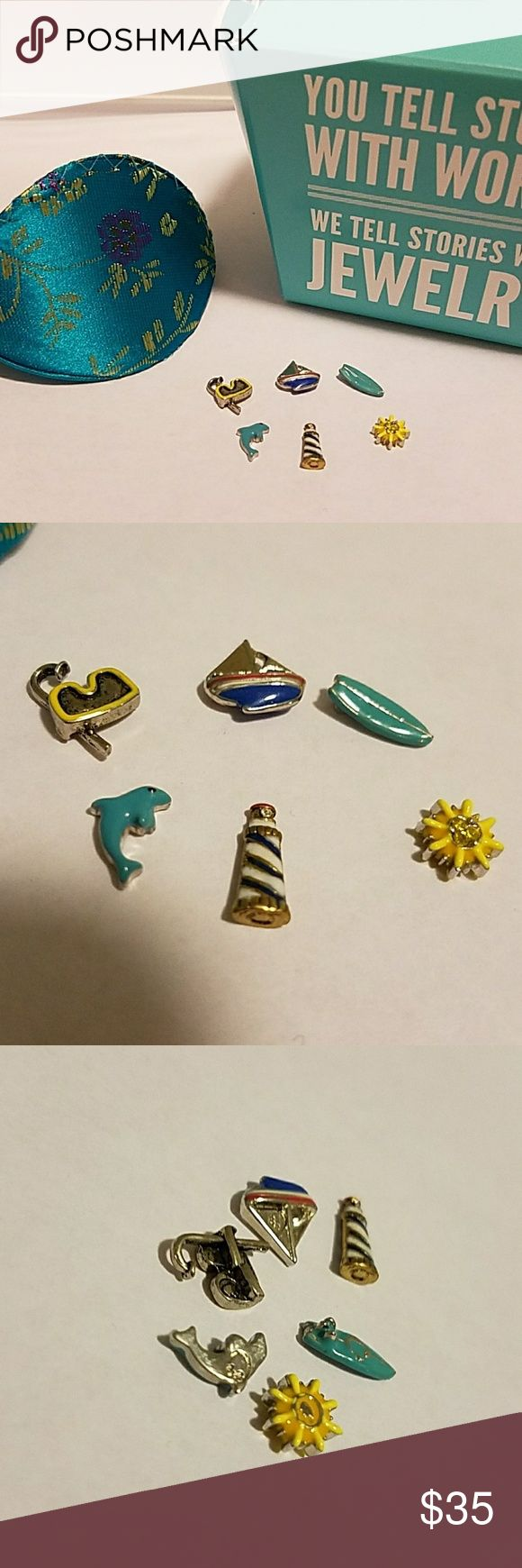 Authentic Origami Owl Charms Adorable Authentic (6) Origami Owl Charms. Like New Condition! Nautical Theme. Comes With Fortune Cookie Pouch & Box. Origami Owl Jewelry