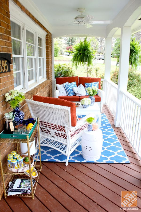 Front Porch Decorating Ideas: Southern Charm with Mediterranean Color