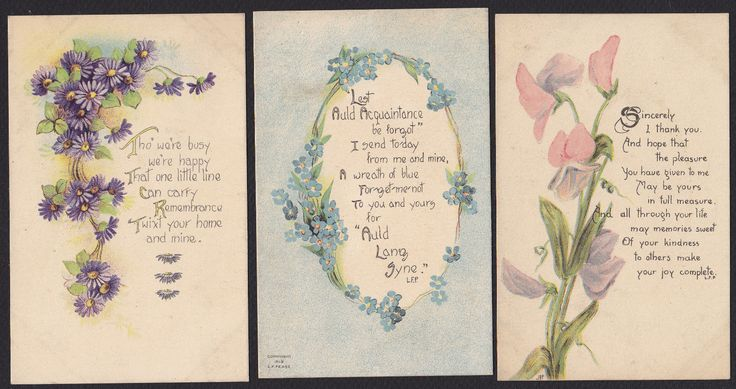 6 Greeting Garden Flowers Poems Antique Postcard Lot | eBay