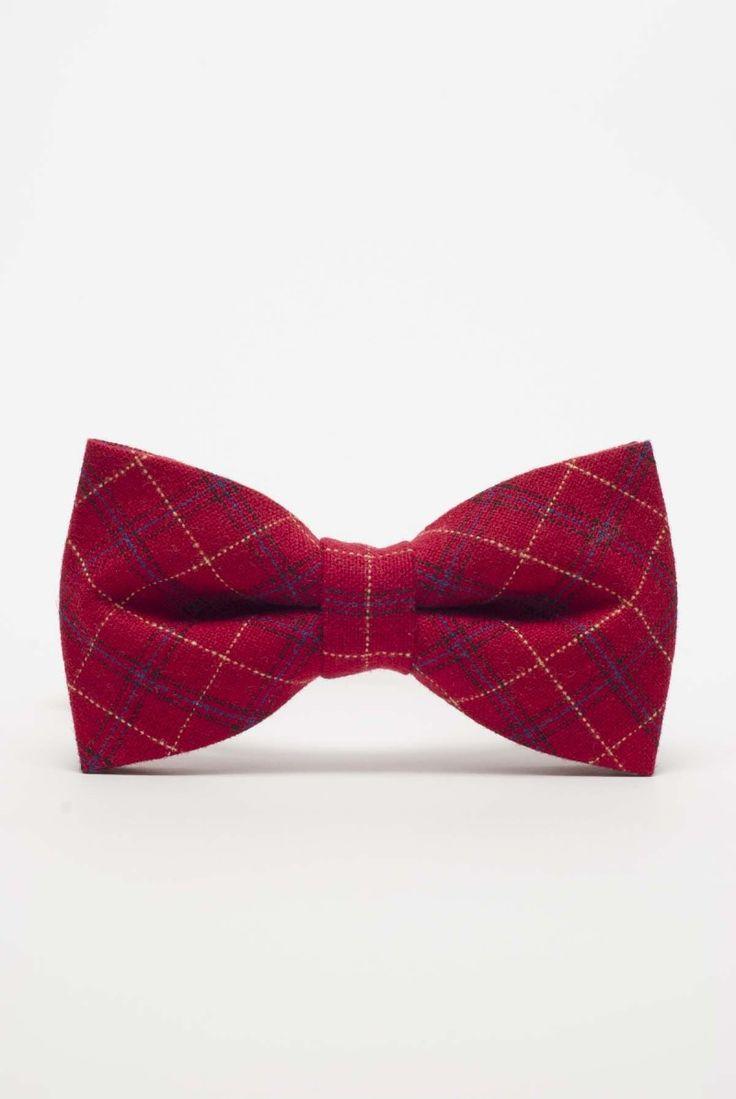 Czerwona mucha męska - szkocka kratka #męskamucha #muszka #muchamęska