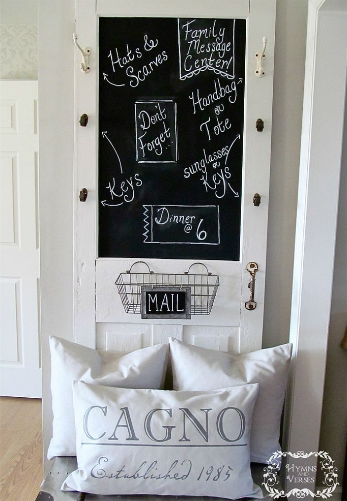 How to Turn an Old Screen Door Into a Family Message Center.  use as pantry door.  use iron soap dish as chalk holder attached to door.