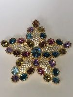 JOAN RIVERS Multi-Colored Crystal Stone Star/ Flower BROOCH PIN - *VERY RARE*