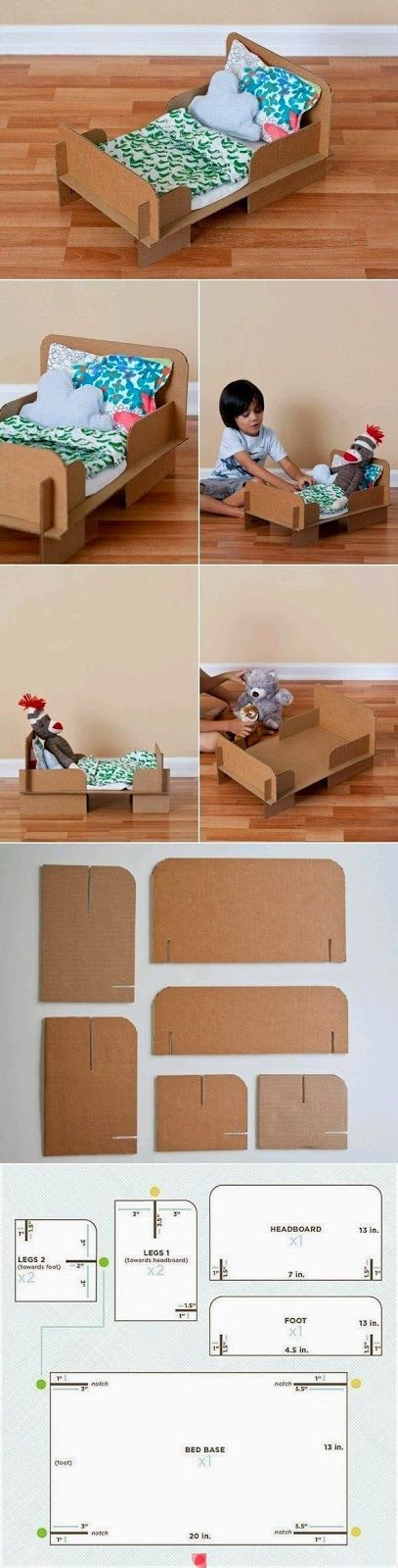 Cardboard doll bed pattern. Omg I could do this with plyboard