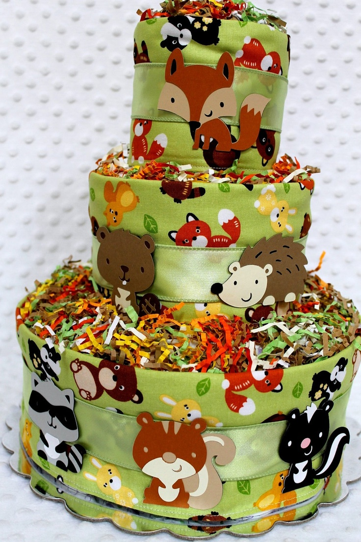 baby diaper cakes woodland animals creatures baby shower gift or