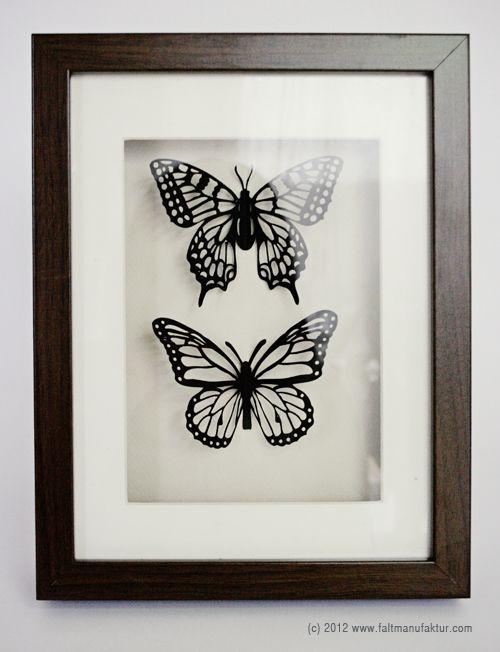 framed paper cut butterflies by faltmanufaktur #scherenschnitt #silhouette #insects #shadow box
