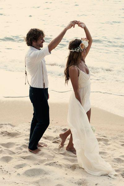 Carefree beach wedding photo