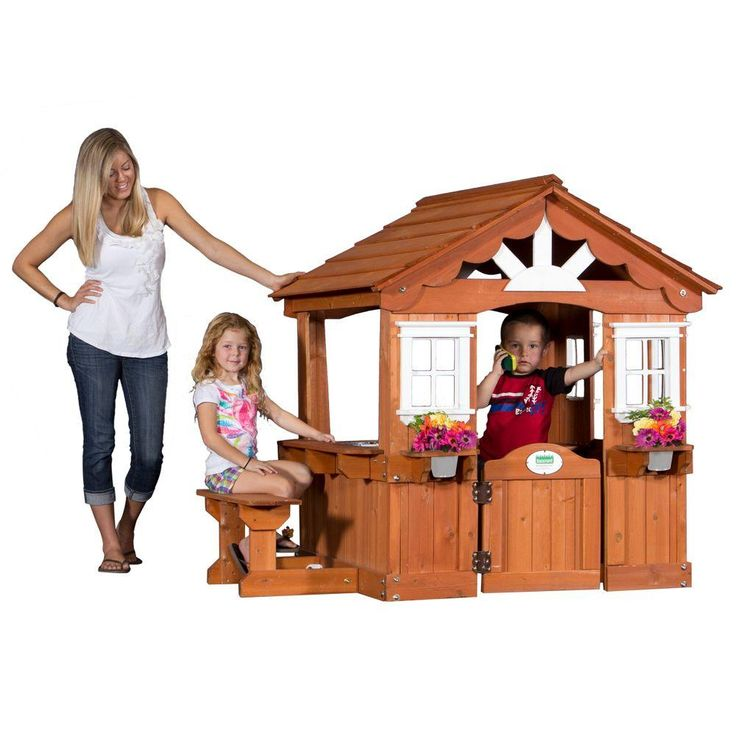 This children's playhouse has a cute design with scalloped roof line, sunburst end gables, and wide open side windows. Around one side there is a snack window with integrated bench. Inside there are fun accessories including a play stove, sink, and cordless phone.