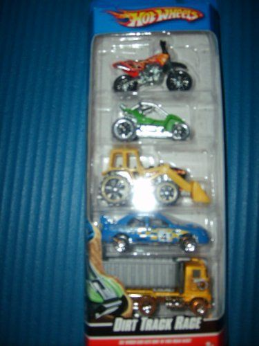 Hot Wheels 5 Car Gift Pack - Dirt Track Race by Mattel. $10.99. See which car eats dirt in this road race!. 1:64 Scale. Age 3+. Five die cast cars in one pack. This pack of 5 cars includes the following: Tractor, Ford Dump Truck, Suburu Impreza, Power Sander and HW450.  Age 3+