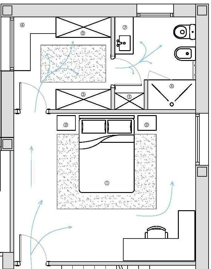 Distribución de dormitorio, vestidor y baño