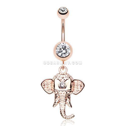 Rose Gold Shri Ganesha Elephant Belly Button Ring (Clear)