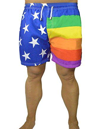 6c615e0c27 MWS Rainbow American Flag Mid-thigh Swim Trunks, Gay Pride Flag Running  Shorts, No Velcro Review