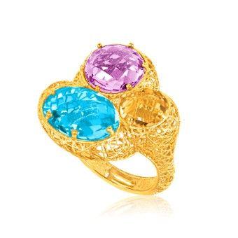 Italiensk Designad 14K Gult Guld Ring med Topas, Ametist & Citrin