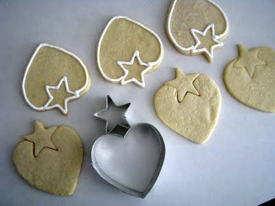 heart cookie cutter + star cookie cutter = strawberry cookie