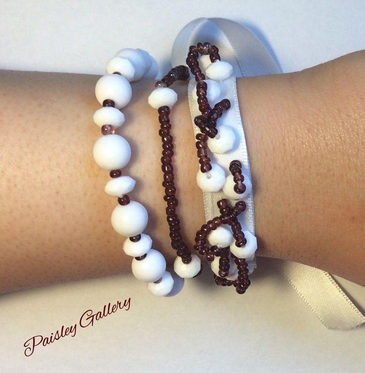 Shel Bracelet, Beaded Bracelet, Pinned to ribbon beads, Ribbon Bracelet, Tripple Bracelet, well digned, Unique, handmade jewelery by PaisleyGI on Etsy