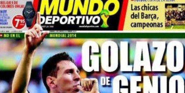 """La """"Pulga"""" copó los diarios: la prensa internacional destacó a Messi. El gol del 10 argentino clasificó a la Selección en octavos y captó las miradas del mundo. http://www.diarioveloz.com/notas/126402-la-pulga-copo-los-diarios-la-prensa-internacional-destaco-messi"""