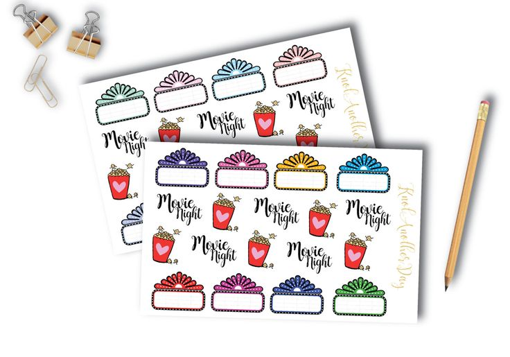 Movie Night, Movie Marquees, Popcorn Stickers for all planners | by KnotAnotherDay (C3002) by KnotAnotherDay on Etsy https://www.etsy.com/ca/listing/476119240/movie-night-movie-marquees-popcorn