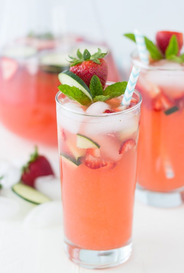 Strawberry Cucumber Limeade - A refreshing sparkling limeade perfect for any summer picnic.