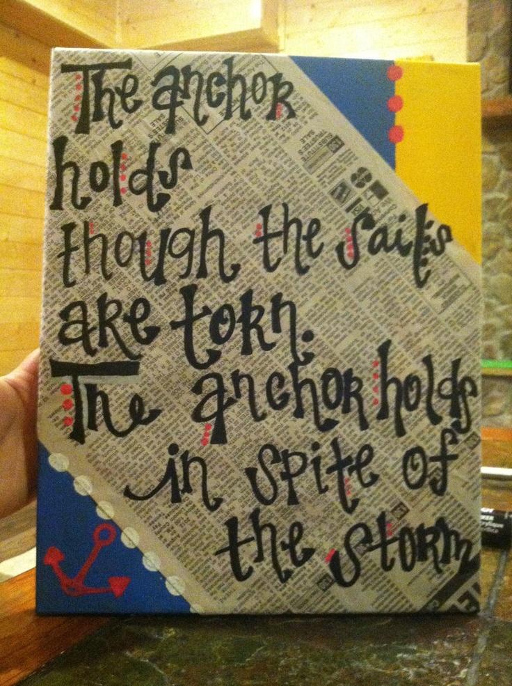 Blue and yellow newspaper covered christian lyrics canvas art. $25.00, via Etsy.