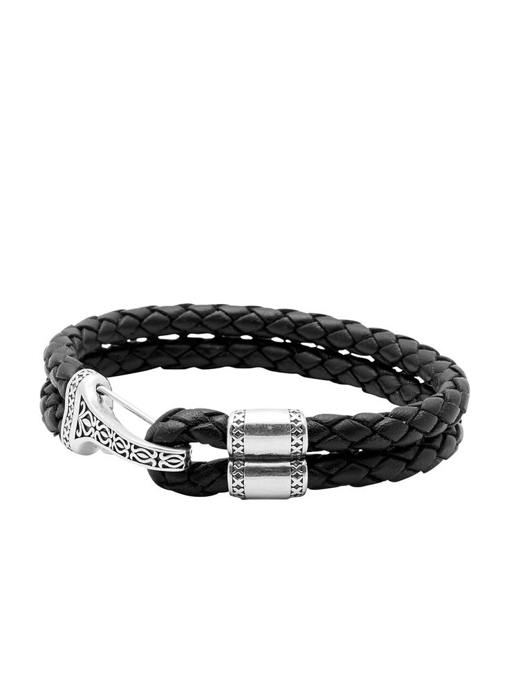 Fine Jewelry Mens Black Leather Link-Style Braided Bracelet 77oe2uuM