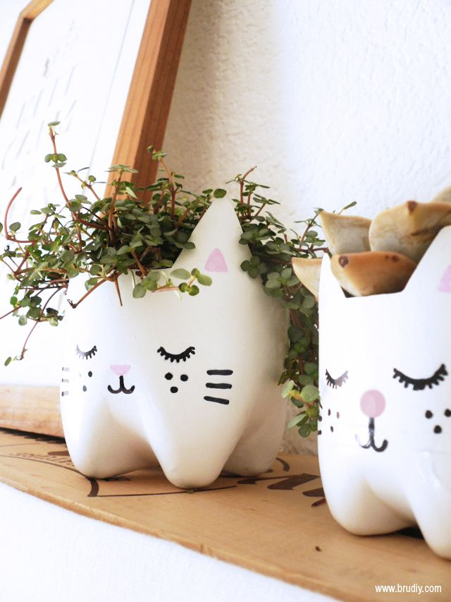 Kitty planters made out of plastic soda bottles. I cannot read Spanish but the pictures spell it out fine.