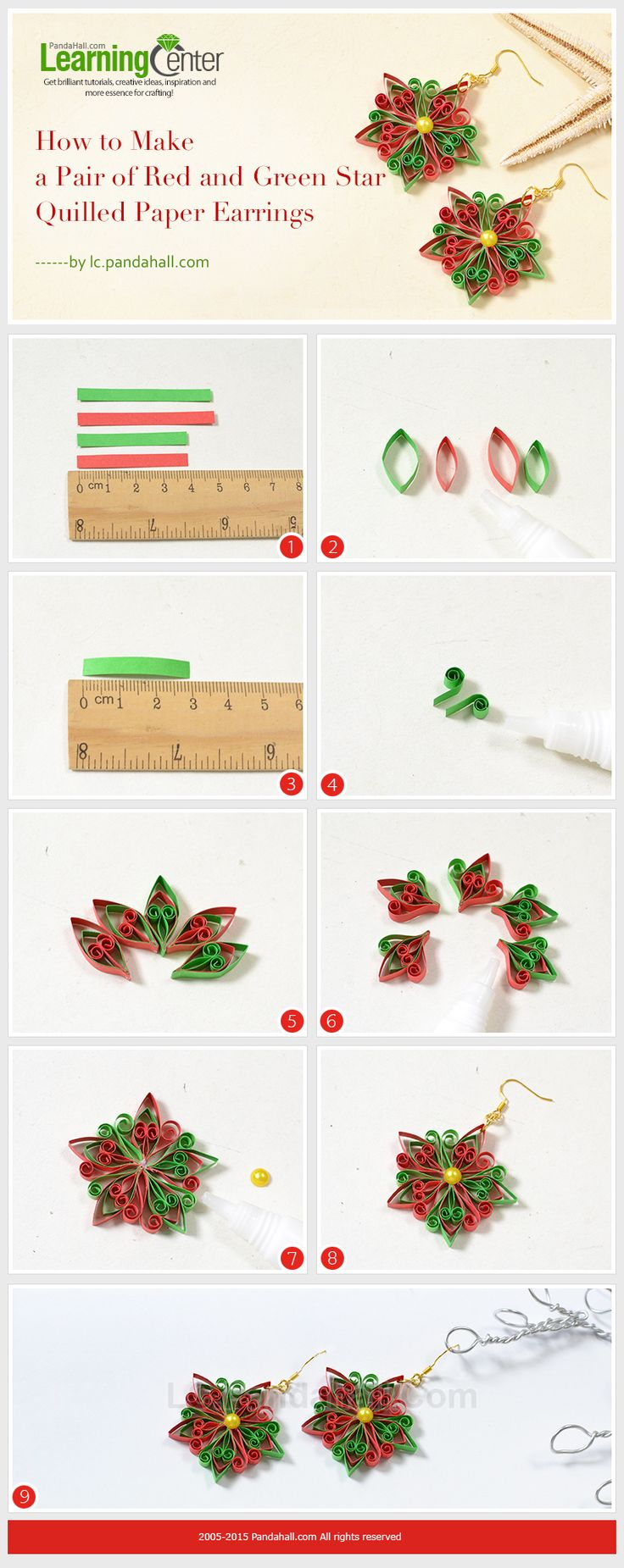 How to Make a Pair of Red and Green Star Quilled Paper Earrings