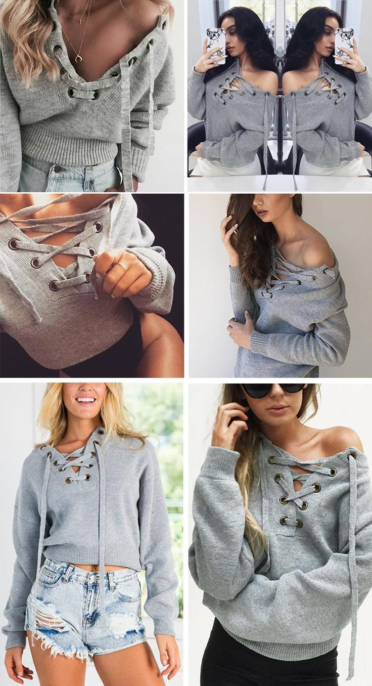 Lady's Lace Up Winter Sweater Casual