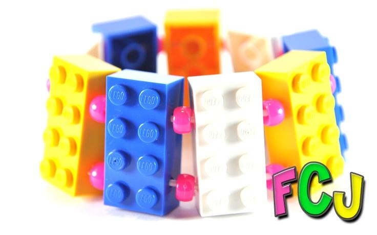 Lego Bracelet - Blue, White & Yellow