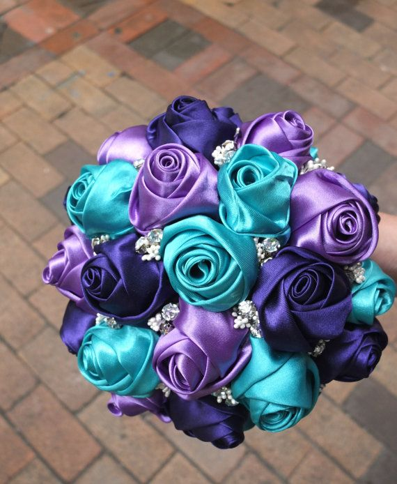 Ribbon Rose Bouquet, Satin Rose Bouque,t  Purple & Teal Flower accented with rhinestone (Small,6-7 inch)