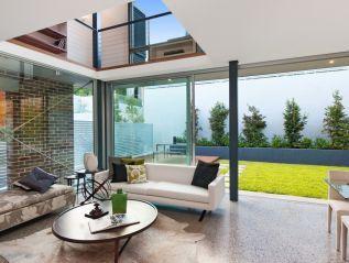 Nick Belle Design Lounge polished concrete floors mezzanine study.  Nelson Street Annandale