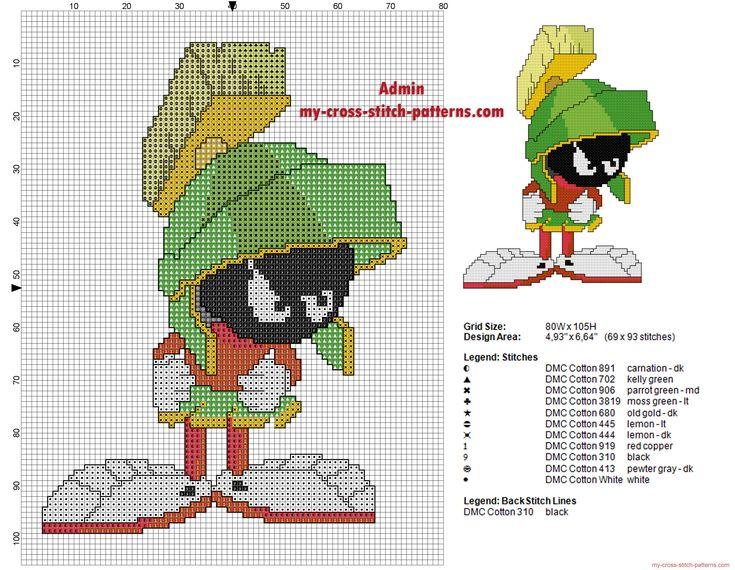 Marvin El Marciano Looney Tunes grafico esquema punto cruz ponto cruz
