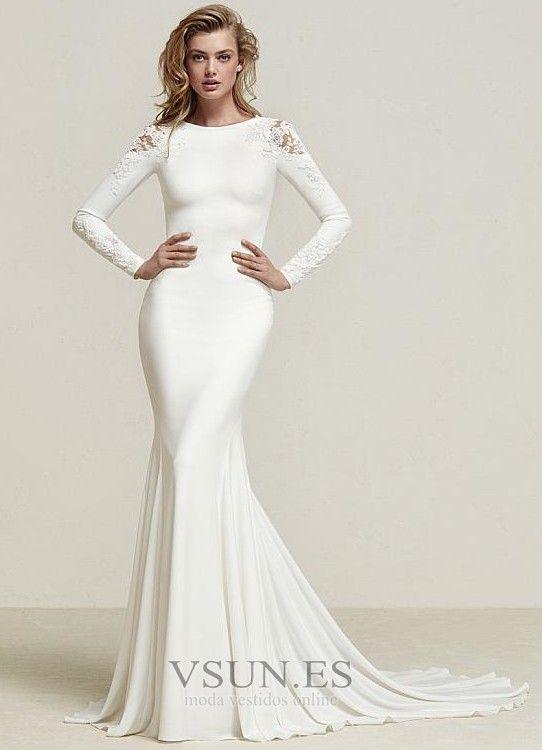 vestido de novia manga larga corte sirena invierno camiseta