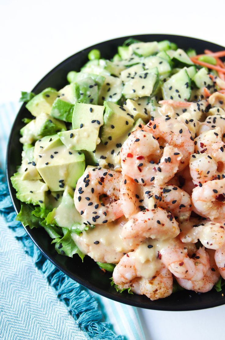 Shrimp and Avocado Salad with Miso Dressing. So much creamy, crunchy, fresh goodness in one delicious bowl.