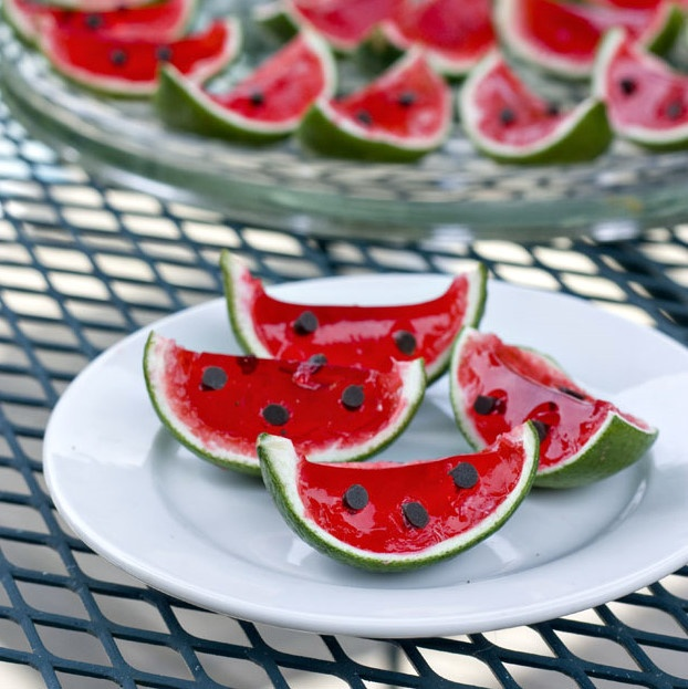 Watermelon Jello Shots served in a lime rind!  http://www.ericasweettooth.com/2011/07/watermelon-lime-jello-shots.html