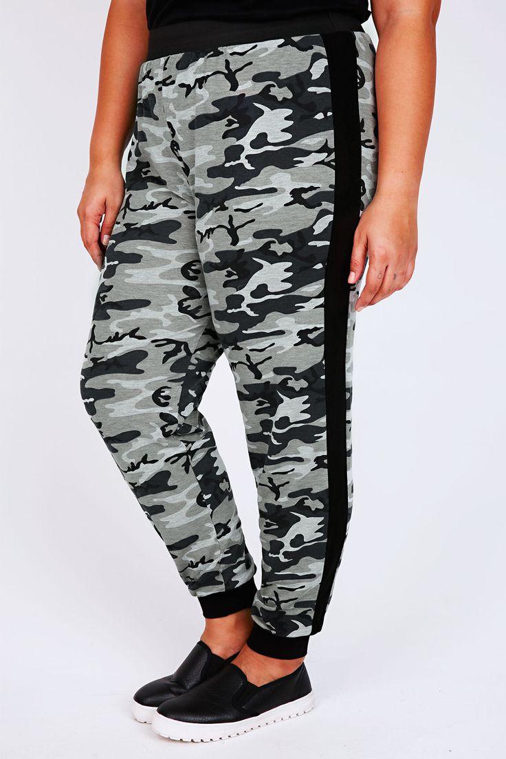 Black & Grey Camouflage Print Cuffed Harem Joggers