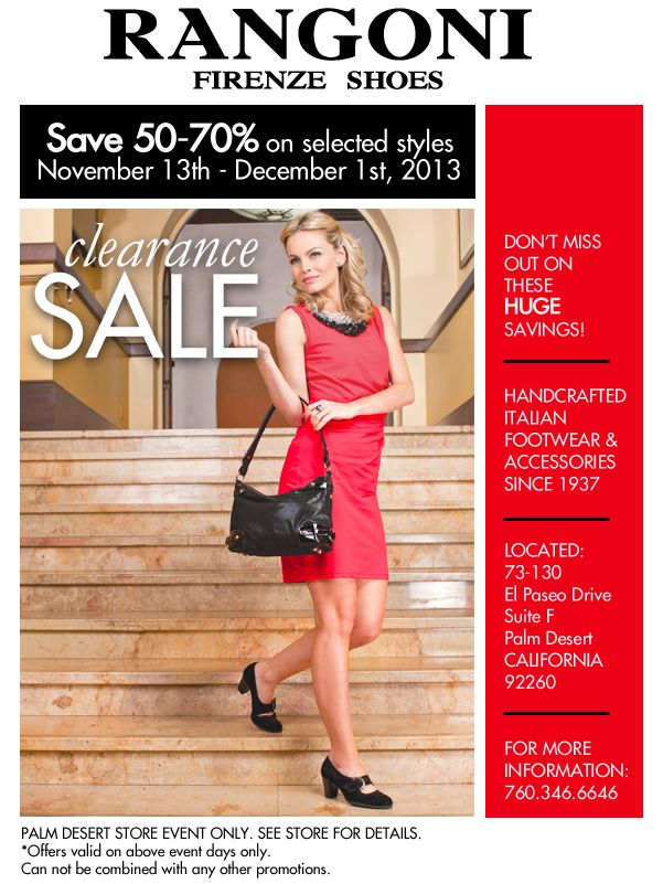 CLEARANCE SALE! Only in our Palm Desert store