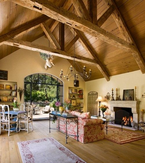 Georgianadesign pinterest french country exposed for Vaulted ceiling with exposed beams