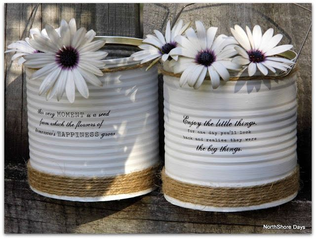 NorthShore Days.....: Up-Cycled Painted Tin Cans