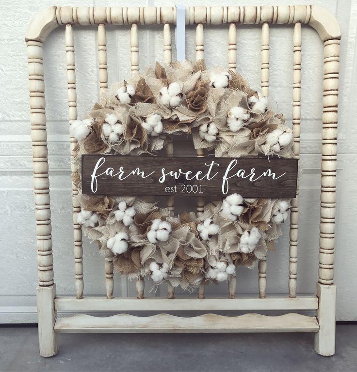 Farm sweet farm wreath, farmhouse wreath, Burlap rag wreath, Burlap wreath, cotton wreath, cottonboll Wreath
