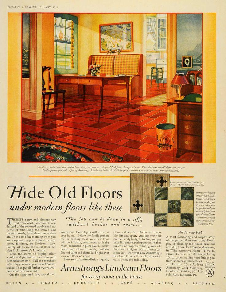 1928 ad armstrong cork linoleum floors interior design for Vintage linoleum flooring