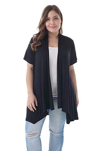 4e346ef246e5 New ZERDOCEAN Women s Plus Size Short Sleeve Asymetric Hem Open Front  Lightweight Soft Printed Drape Cardigan