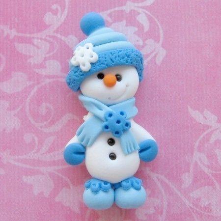 Snowman Polymer Clay Bead Flat Back Embellishment por DesignsByWho