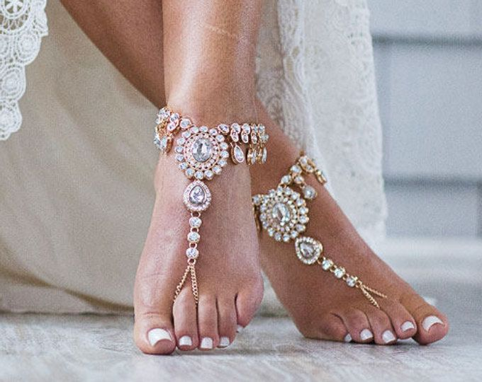 52f27c8f3aa52a Starla Barefoot Sandals Beach Wedding Jewelry Foot Jewelry Bohemian Wedding  Sandals Anklet Foot Thong Rhinestone Sandals Bridesmaids Gift