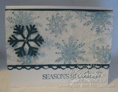 Lovely snowflake card using an old dryer sheet