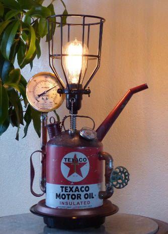 Steampunk, Texaco, Lamp, Lighting, Art, Gauges, Copper, Brass, Oil Can, Edison, Gears, MasterGreig - MG-330