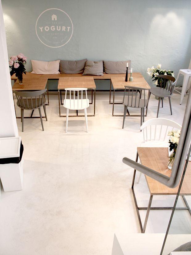 The Yogurt Shop - Copenhagen          Just love these tables!!