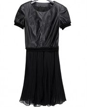 Top Leather and pleated dress